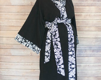 Black Damask Maternity Kimono Robe - Super Soft Black Microfleece - Add a Labor and Delivery Gown to Match