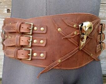 Primitive Tribal Brown Leather Wide Belt w Raven Skull and Antiqued Brass Hardware