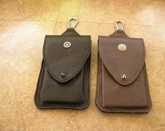 Made to order, leather cell phone bag in your choice of color and charm, clip & belt loop, for iPhone 6 plus, spike button closure