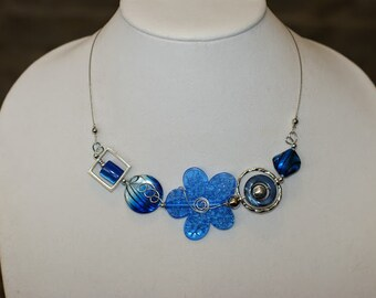 Blue modern jewelry, Asymmetric necklace, Unique jewelry, flower necklace, Bridemaid jewelry,
