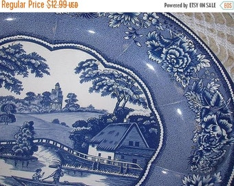 30 % SALE- Blue and White Daher Decorated Ware--made in England-Oval Bowl