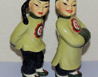 Ceramic Arts Studio Oriental Boy and Girl Figurines