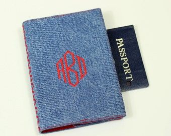 Monogrammed Denim Passport Cover with Velcro Closure - Upcycled Recycled Denim Fabric, Diamond Monogram, Masculine Passport, Country Wedding