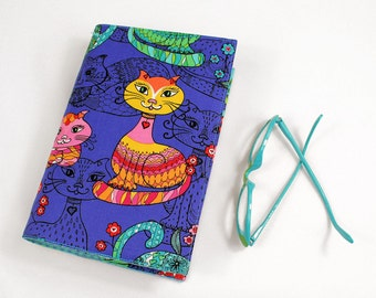Cat Large Paperback Book Cover - Big Bright Cats Trade Size Paperback Book Cover, Cotton Fabric