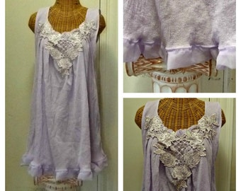 Lavender Lattice Dress Tunic Spring Gauze Chiffon Ruffle Fits Size Large, XL, 1X, 2X or 3X Plus Womens Venice Lace