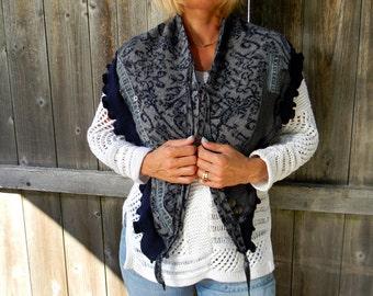 Upcycled Wool /Merino Wool Ruffled Women Scarf Neck Warmer Cowl neck Shawl Wrap Blue & Gray Pattern