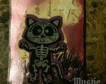 Skellicat in Pink ACEO signed by artist