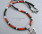 Mens Necklace, Black and Red Gemstone with Celtic Knot Triquetra Charm, Beaded Necklace for Men, Guys, Him, Handcrafted