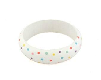 Wood Bangle Bracelet - White Bracelet, Wooden Jewellery, Chunky Bracelet, Beach Bracelet, Polka Dot Bracelet, Womens Bracelet, Gifts for Her