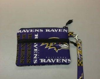 "Baltimore Ravens NFL stadium wristlet, handmade 4.5"" x 6.5"""