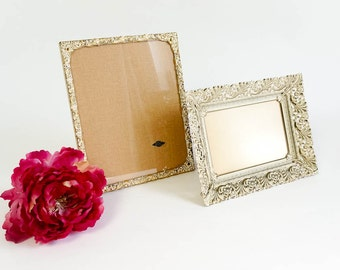 Vintage 1950s Gold Metal Photo Frame Set / 24 Karat Gold Plated