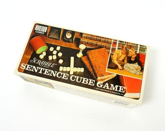 Scrabble Brand Sentence Cube Game 1971 VGC / Compete For High Score While Forming Interlocking Sentences
