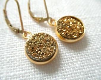 Gold titanium druzy earrings - gold earrings - titanium earrings - D R U Z Y 111