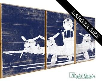 LARGE Vintage Airplane Artwork - Custom Made Rustic Wall Art - Boys Room Decor 16x48