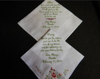 2 Wedding handkerchief - FREE SHIPPING - mix and match -  machine embroidered handkerchiefs - you customize the saying