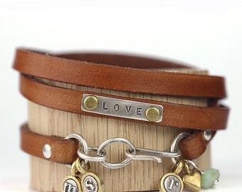 Love Leather Wrap Bracelet, Teeny Initial Bracelet, Bronze Heart and Opal Gemstone, Leather Wrap, Leather Bracelet, Charm Bracelet,