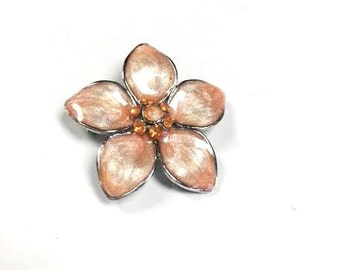 Vintage PEACH ORANGE Flower Brooch