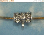 SALE 10 Tube Hanger Beads Sliders with Ring Antique Silver Charm Bracelets or Necklace Bails (P1572)