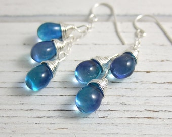 Earrings with Azure/Aqua Glass Teardrops Wire Wrapped in Cascades on Sterling Silver Chains CE-251