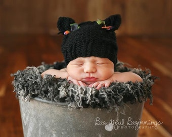 Black Halloween Kitten Beanie Ear Cat Hat Newborn Photo Prop Ready to Ship Baby Sack Cap Boy  Going Home Outfit Infant Coming Girl Hand Knit