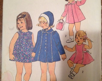 Simplicity 7323  Size 2  Toddlers Dress, Coat and Hat.    1970's Sewing Pattern