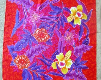 Vintage Tropical Scarf Floral Silk Hibiscus Stargazer Lily Daffodil Liz Claiborne Purple Orange Yellow Blue