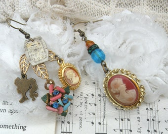 cameo earrings assemblage watch dial mismatched silhouette upcycled vintage jewelry romantic goddess ooak