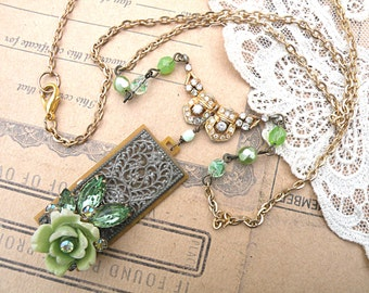 necklace spring assemblage mint green rose upccycled vintage jewelry rose cottage chic