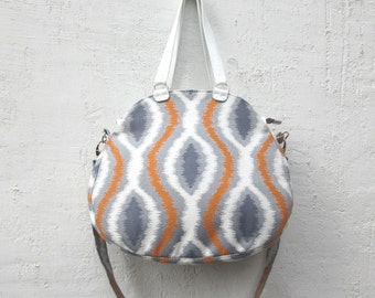 SALE! Spring bag, ikat Leather Bag, leather canvas tote, womens  leather purse, geometric handbag, white leather bag mothers day,everyday