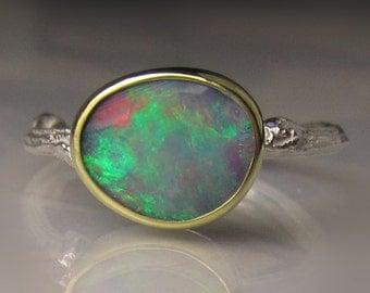 Boulder Opal Ring, Boulder Opal Twig Ring, Opal Ring, 18k Gold, Sterling Silver, Australian Opal Ring