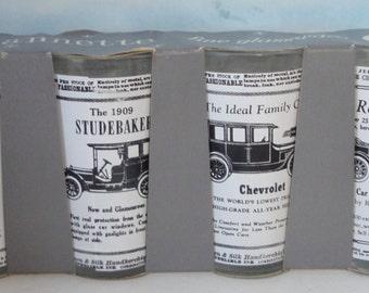 Vintage JEANNETTE Antique Cars Tumblers In Original Box.