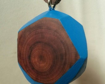 Abstract geometric wooden pendant necklace