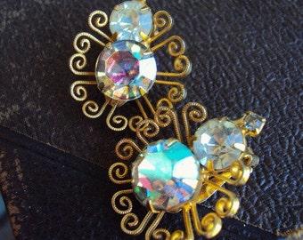 Vintage Mid Century Earrings Aurora Borealis AB Glass Rhinestones Ornate Metal Settings Pronged Settings Hollywood Regency Costume Jewelry