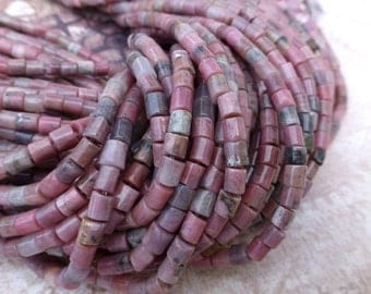 free UK postage Strand of 95 Gemstone Beads Natural Rhodonite Column Beads