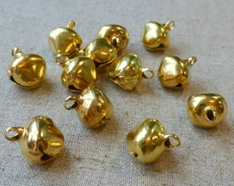 50 pcs - 12 mm gold jingle bells Charm Christmas Pendant,free shipping within UK