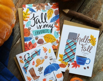 Hello Fall, Fall Favorites, Happy Fall seasonal Folded Note Cards, Autumn, Stationery, Hand Drawn, Illustration, Greeting Cards, Watercolor