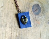 Little blue diary with lock charm and brass chain