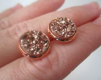 Rose Gold Druzy Earrings, 12mm Druzy, Drusy Earrings, Rose Gold Post, Rose Gold Druzy Stud, 12mm Rose Gold Druzy Stud, Bridesmaid Earrings