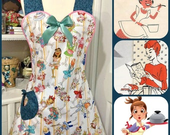 Retro woman's full size apron