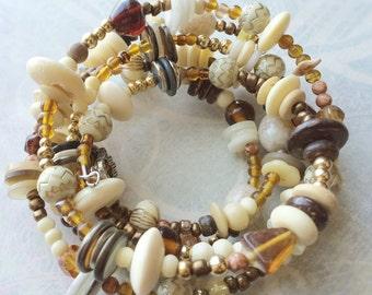 Tribal jewelry Nature colors memory wire bracelet beige brown golden hippie bracelet boho bracelet