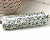 Green and Blue Pencil Case Boxy Pouch Pastel Geometric Zipper Pouch