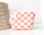 Pink and White Coin Purse Gift Card Credit Card Holder Small Zipper Pouch Plaid Change Purse