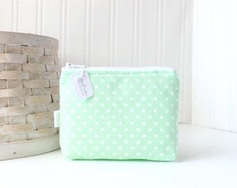 Mint Green Polka Dot Coin Purse Gift Card Credit Card Holder Mint Zipper Pouch Change Purse