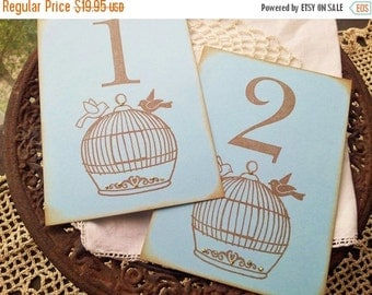 SALE Wedding Table Numbers Love Birds Birdcage Table Cards Numbered Tags Set of 10