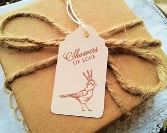 Showers of Love Bird with Crown Gift Tags Set of 25