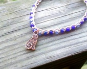 Anklet Zen Kitty Charm in Copper with Cobalt Blue Size and Color choices