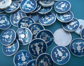 "BLUE & SILVER BUTTONS 30 metal buttons 7/8"" diameter Tiger Button Co Inc Pinto"