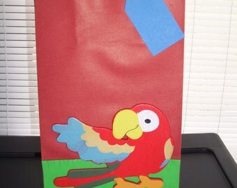 parrot favor bags, pirate birthday bags,kids favor bags,birthday party bags, bird favor bags