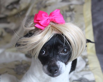 Pet  blond  wig  with hot pink color bow for dog or cat