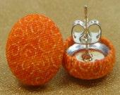 Sunburst Orange Print Fabric Button Earrings
